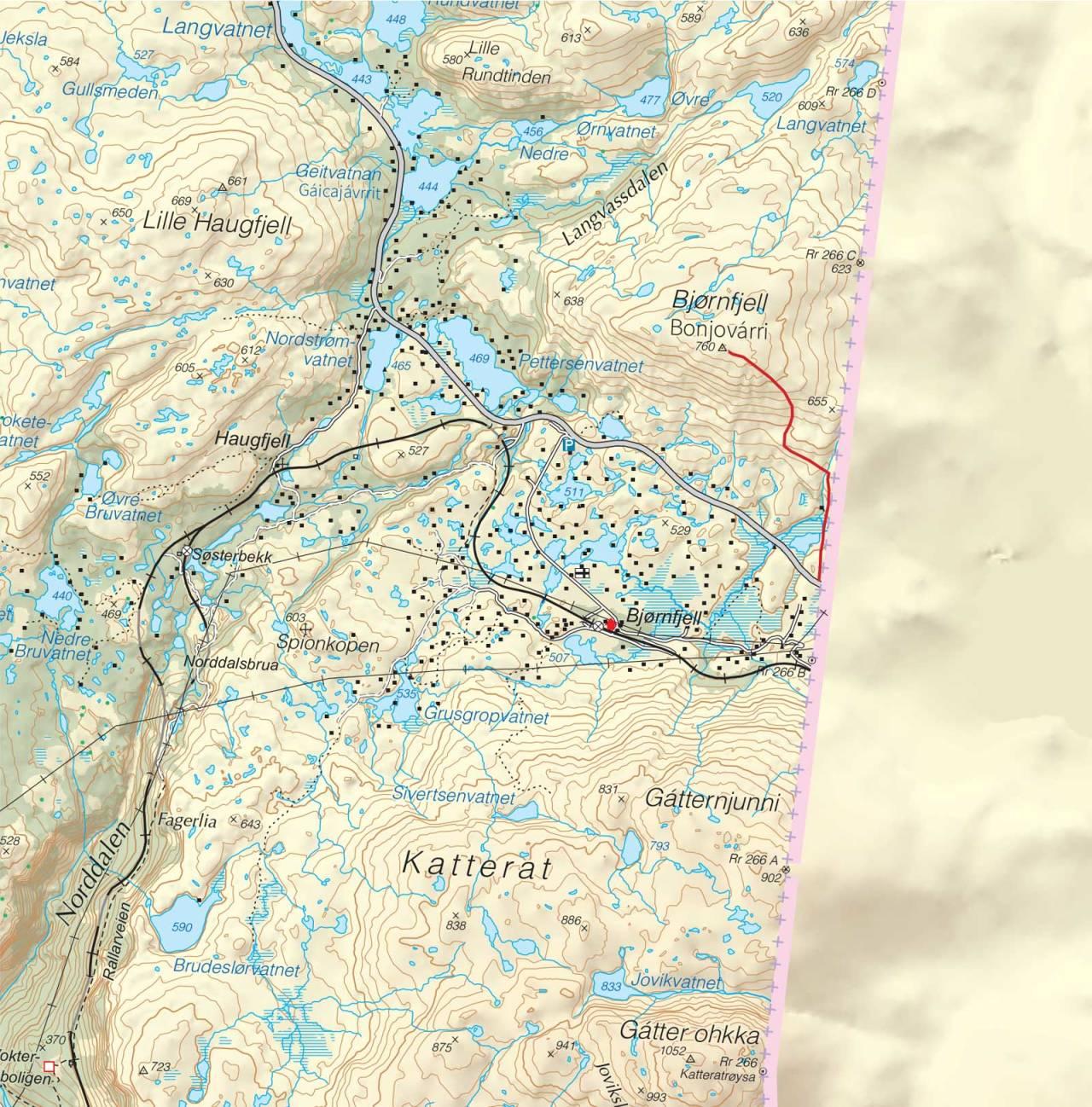 Kart over Bjørnfjell med inntegnet rute. Fra Trygge toppturer.