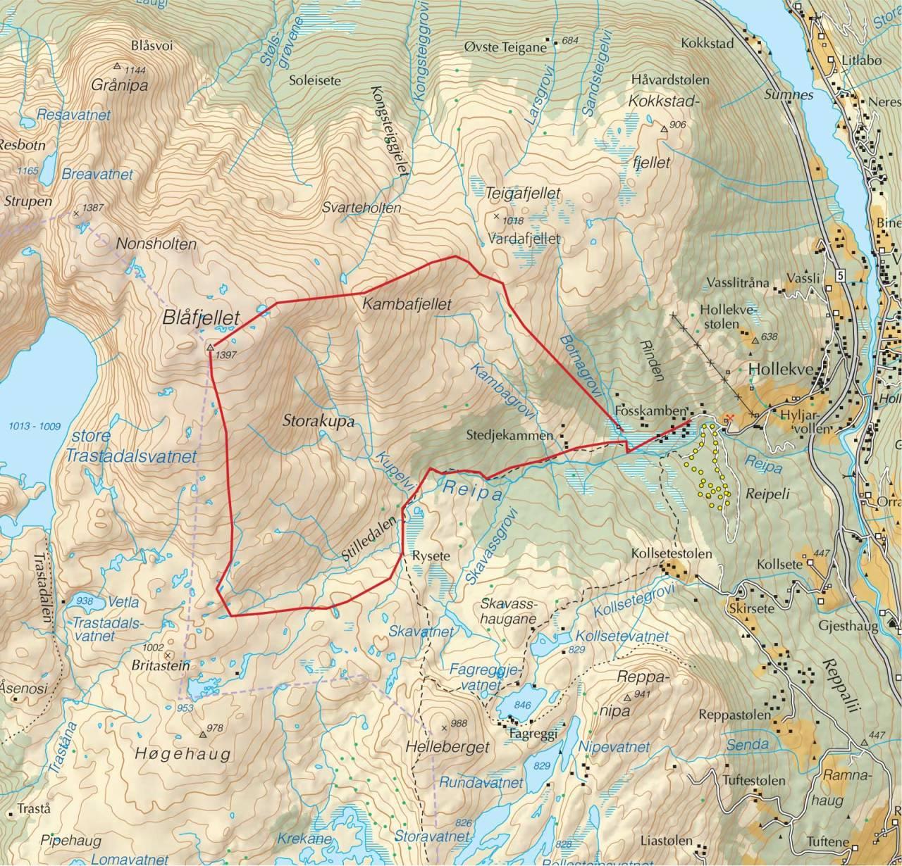 Kart over Blåfjellet med inntegnet rute. Fra Trygge toppturer.