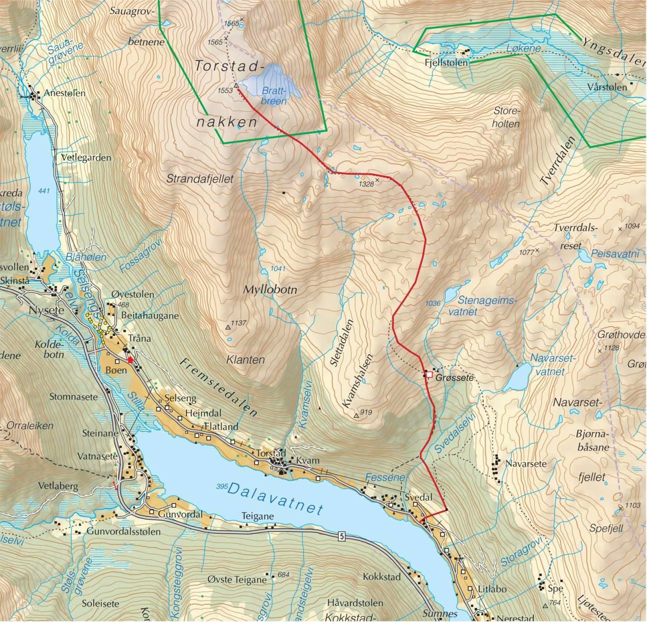 Kart over Torstadnakken med inntegnet rute. Fra Trygge toppturer.