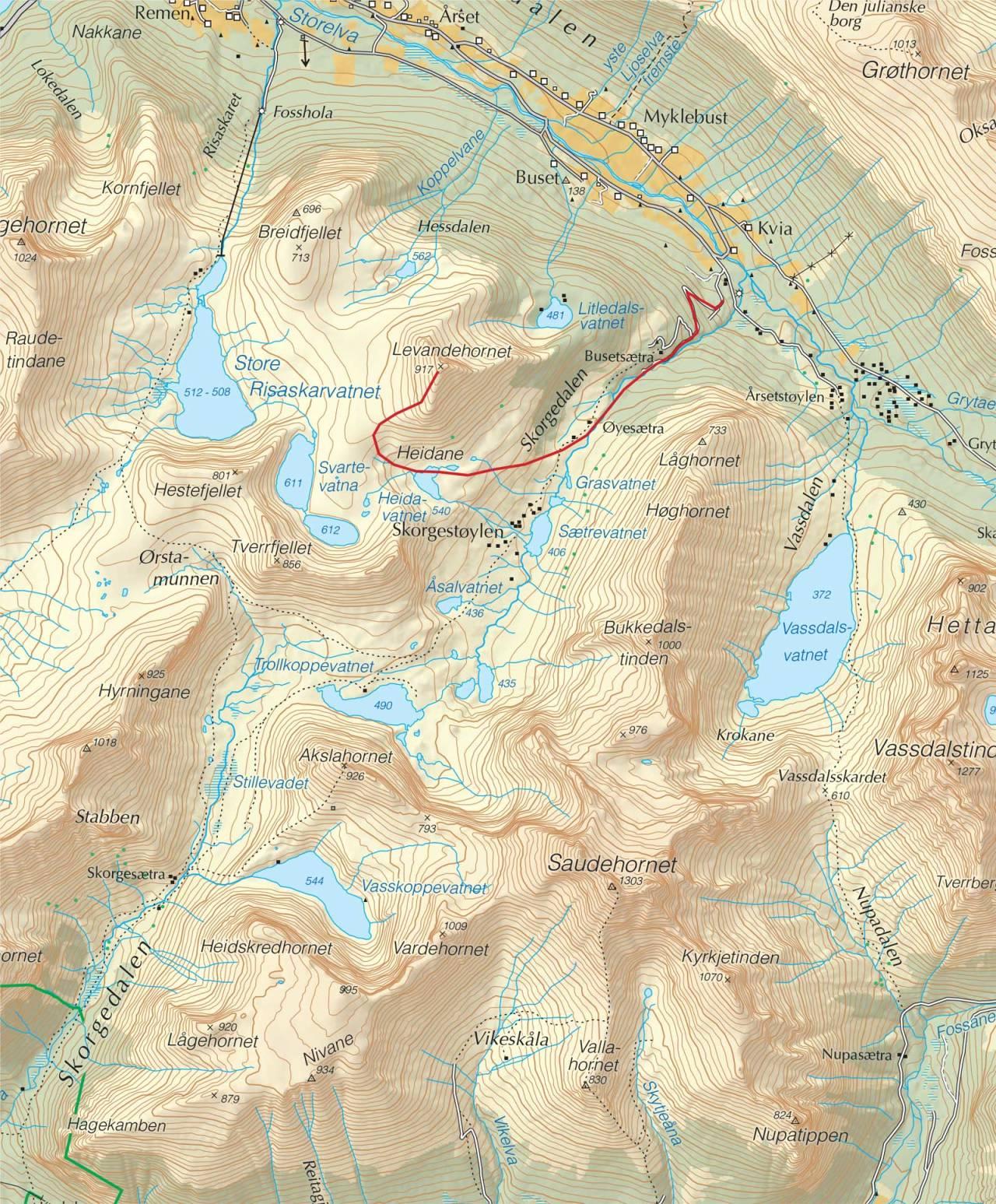 Kart over Levandehornet med inntegnet rute. Fra Trygge toppturer.