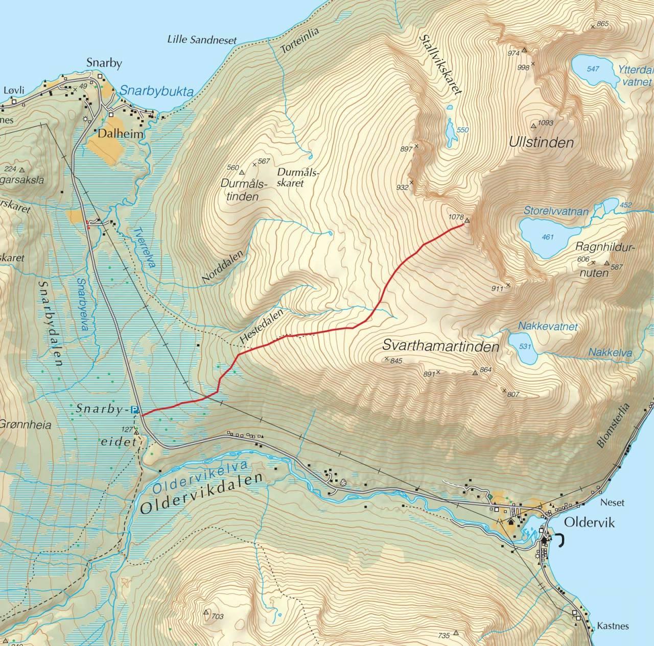Kart over Ullstinden med inntegnet rute. Fra Trygge toppturer.