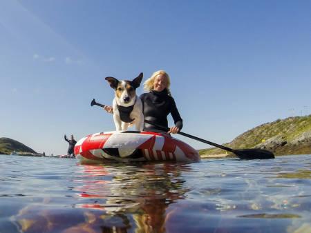 Kiter Kari Schibevaag og hunden Truls holder SUP-kurs. Foto: Line Hårklau