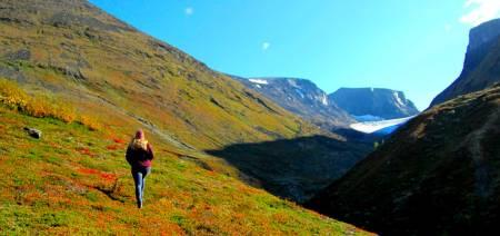 Malin Jacob på vei opp for å måle Storjuvbreen, som ligger i Jotunheimen på nordsida av Galdhøpiggen. Foto: Dag Inge Bakke