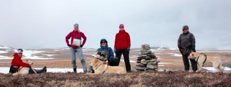 Tine fikk selskap på sin vei gjennom Troms. Foto: Tine Larsen