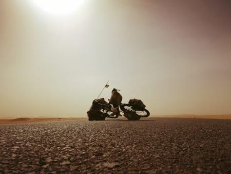 HETT OG TRÅTT: Utfordrende strekning Ett og annet tre. Sand. Åpent landskap. Blå himmel. Dyreskrotter langs veien. Foto: Teresie Hommersand