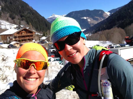 Meg og mi kanadiske lagveninne Melanie Bernier. Ein fryd å pine seg sjøl saman med denne positive dama.