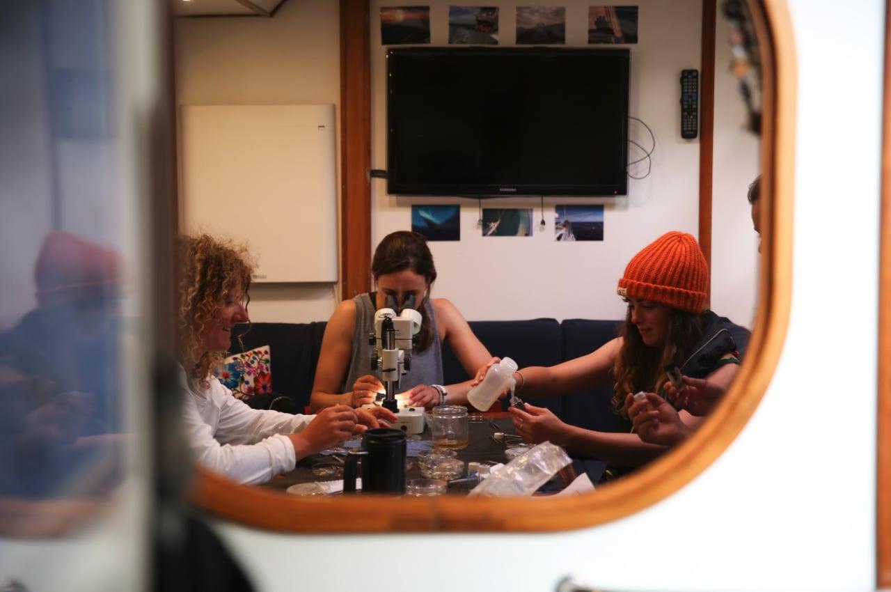 FORSKNINGSSEILAS: Utfordringen med å forske fra seilbåt kan kort oppsummeres med at seilbåter jo er laget nettopp for å rulle fra side til side. Foto: Eleanor Church