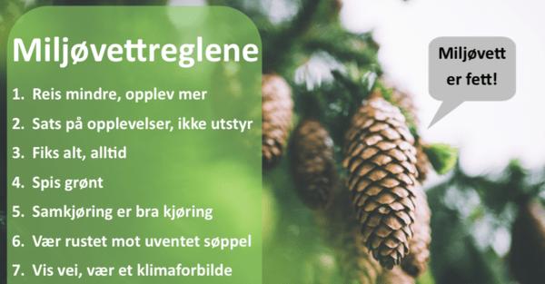 MILJØVETTREGLENE: Her ser du de syv miljøreglene. – All oppmerksomhet som handler om at vi er litt på feil vei, det er veldig bra, sier lederen for Norsk Klimaservicesenter om reglene.