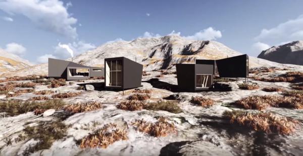 Nye Skåpet vil bestå av en hovedhytte og fem sovehytter med utsikt mot Soddatjørn. Illustrasjon: KOKO Architects.