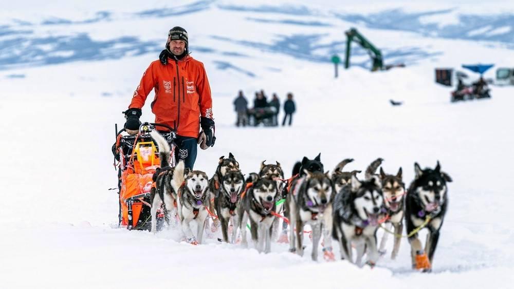 Thomas Wærner på vei gjennom villmarka i Alaska med hundespannet sitt for noen dager siden. Foto: Loren Holmes / Anchorage Daily News