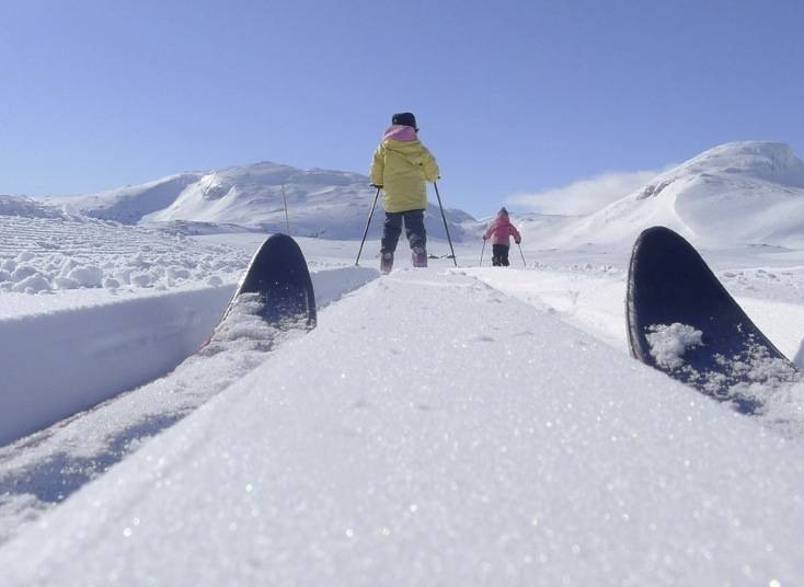 VINTERVAKKERT: Landskapet på Tyin-Filefjell inviterer til skiturer for alle aldersgrupper, alle skiferdigheter og alle typer ski. Her glir Marikken Eidslott (10) og Ea Eidslott (8) inn mot DNTs selvbetjente Sulefjell til venstre og Suletind til høyre. Foto: Eivind Eidslott