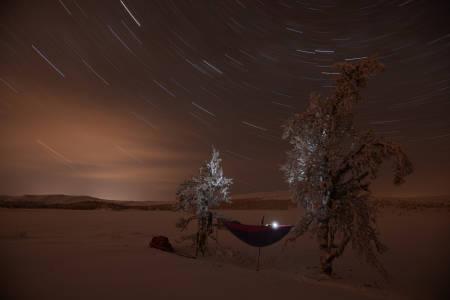 VINTER-OVERNATTING I HENGEKØYE: Stjerneklart og ikke et vindpust er å kjenne, ikke en gang et svakt drag i luften. Alt er stille, frosset tid i frosset landskap. Foto: Bo LIndblad