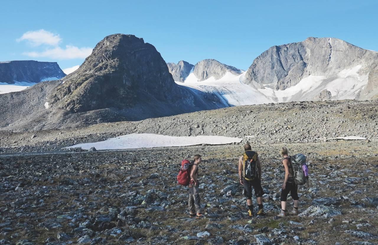 TOPPTURSAMLING: Massivet rundt Grotbreen gir mye rom for utforskning. Grotbreahesten i front blir dagens siste topp i runden.