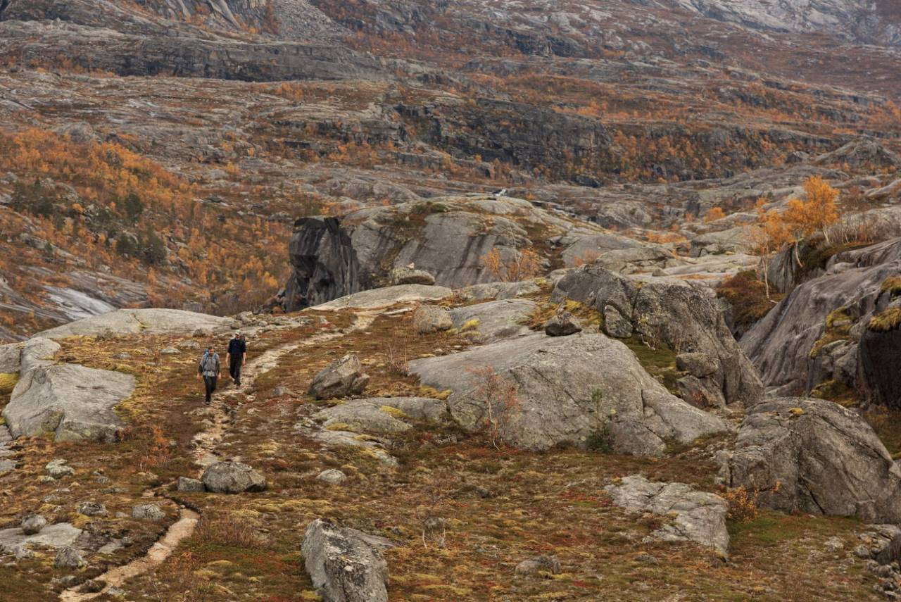 GÅ, RAGO, GÅ: Rago nasjonalpark er blant landets minste, men sammen med verneområdene på svensk side utgjør den en del av et stort sammenhengende område. Her er Hans Petter (HP) Hval foran og Henning Reinton bak. Foto: Kristoffer H. Kippernes