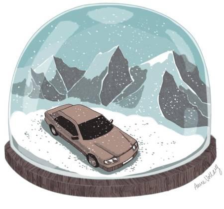 NATURENS BOBLE: Sigri Sandberg er på roadtrip, og lurer på hva det er med denne naturen. Illustrasjon: Anne Vollaug