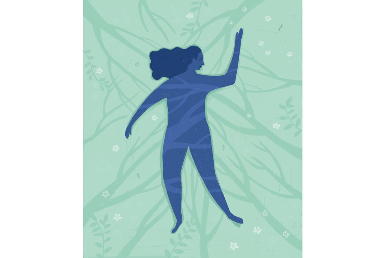 STILLE NÅ: Det hender at jeg kan bli skremt i det stillheten entrer kroppen min. Jeg kan føle meg naken og sårbar, fordi jeg ikke lengre har noe eller noen som distraherer meg vekk fra tankene og følelsene. Illustrasjon: Anne Vollaug