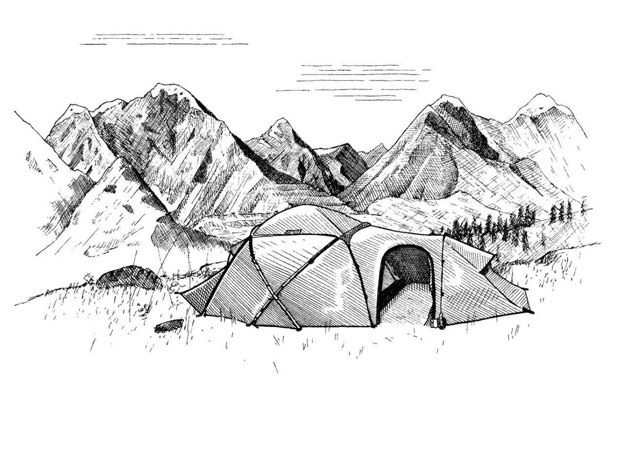 Basert på UTE-spalten Helt ute er boka med samme navn et skåblikk på fjellfolk, skiturer, turistforeningshytter og løping generelt. Illustrasjon: Frode Skaren/byHands