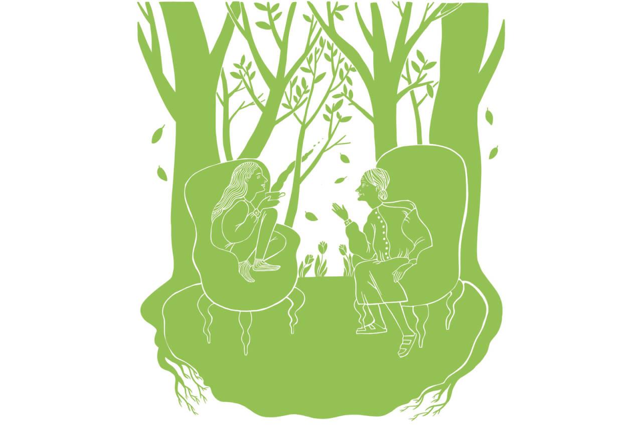 LIKHETER: Å sitte i bestemors sofa er litt som å sitte ute på myk mose og lytte til naturen, skriver Maria Grøntjernet. Illustrasjon: Anne Vollaug