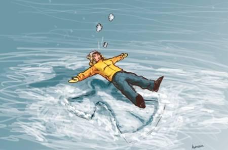 LANGFLAT I SNØEN: Ifølge UTEs spaltist er mars måneden for å legge seg ned og lage engler i snøen. Illustrasjon: Atle Hansson