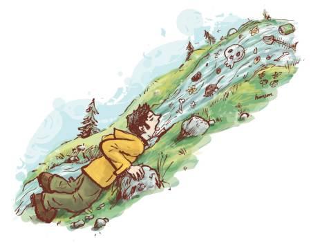 BEKYMRET OVER DRIKKEVANENE: UTEs spaltist er oppvokst med et bekymringsløst forhold til norsk fjellvann. En fjelltur i Jotunheimen og en kveld foran tv-en endret alt. Illustrasjon: Atle Hansson