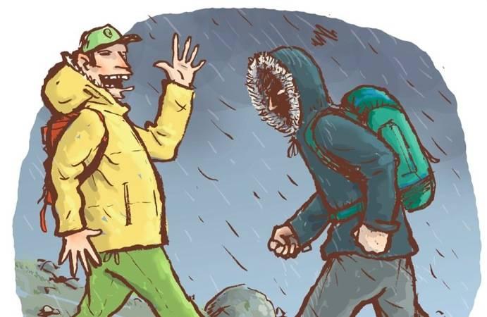 FJELLPRAT: Den typiske samtalen i fjellet er  varer vanligvis ikke mer enn noen sekunder, men Eivind Eidslott mener den skiller mennesker fra dyr. Illustrasjon: Atle Hansson