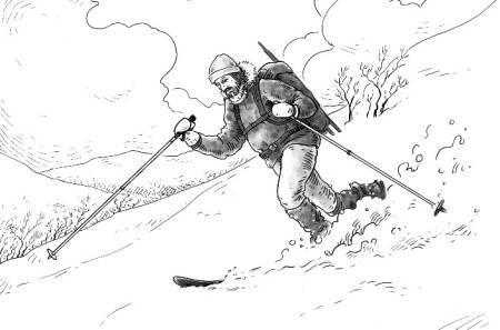TILPASNINGSDYKTIG: Det er en kunst å bevege seg elegant og stødig på ski uansett føre. Illustrasjon: Kjetil Fornes