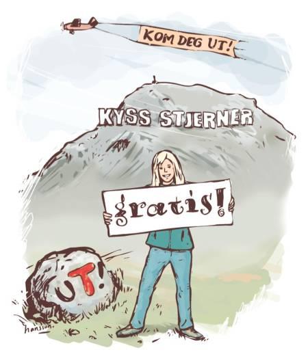 HILSEN FRA UTEDEPARTEMENTET: UTEs Sigri Sandberg drømmer om å være reklamedame for utedepartementet. Da skulle hun malt himmelen og naturen med slagord som fikk folk til å komme seg ut. Illustrasjon: Atle Hansson