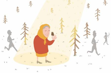 VETERAN: Jeg gikk inn i skogen og var knapt passert 40, og knips og vips, så var jeg plutselig blitt langt over 80. Illustrasjon: Anne Vollaug