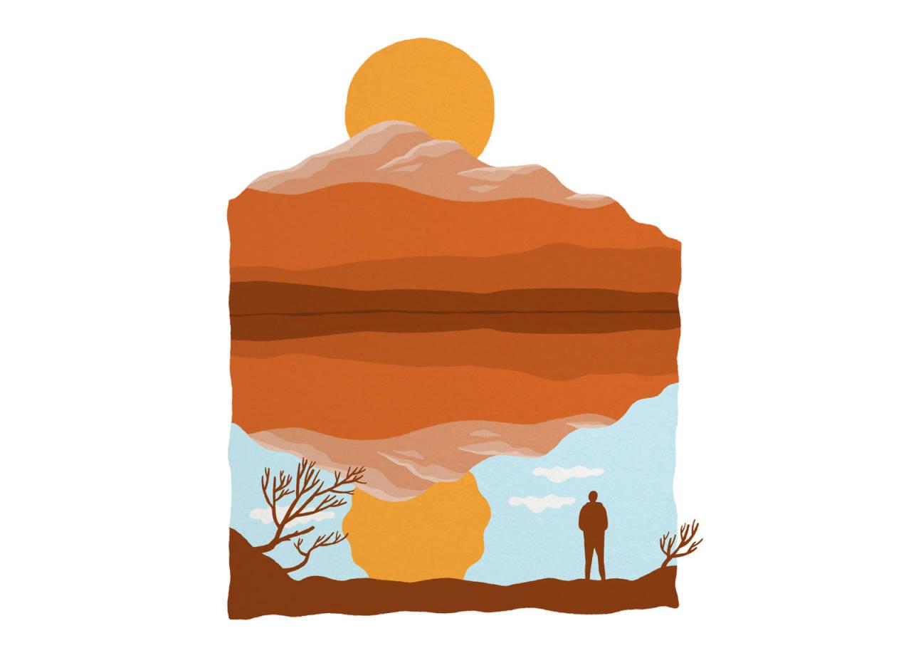 UTE ET STED: Det er ikke meningen at du skal finne dette fjellet. Det er litt mitt, skriver Eivind Eidslott. Illustrasjon: Anne Vollaug