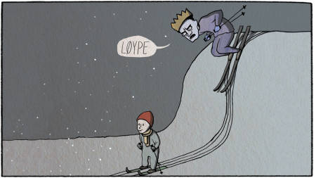 Sure miner: UTEs spaltist Eivind Eidslott avslører friluftslivets mørke side.  Illustrasjon: Anne Vollaug