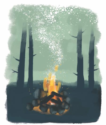 De stiger opp nå. Oransje flammer mot gråsvart, stadig mørkere himmel. Under oss, en by som også tenner sine lys etter hvert. Illustrasjon: Anne Vollaug