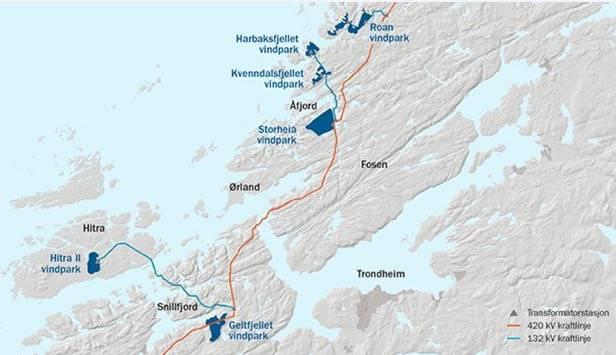 VINDKRAFT: Fosen Vind etablerer Europas største vindkraftprosjekt på land Så godt som alle fjellområdene og kystheiområdene i Trøndelag, som ikke er vernet er blant disse analyseområdene, er  aktuelle for utbygging. Illustrasjon: Statkraft