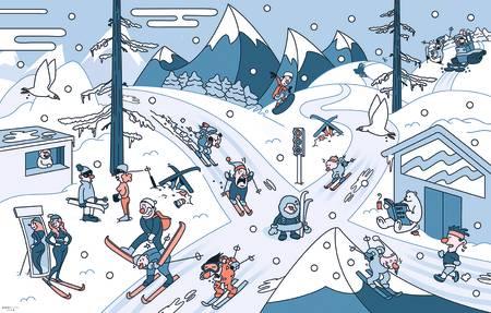 SKIETIKETTE: Går du på ski i snøføyk eller sterk kulde, betyr det at du er BADASS. Punktum. Skiløpere som kommer seg ut i slikt vær, helst med et smil på leppene – om de er aldri så blå – er de som virkelig elsker å gå på ski. Luftveiene skal holdes åpne for egen maskin, se regel #19. Illustrasjon: Rudi Gundersen