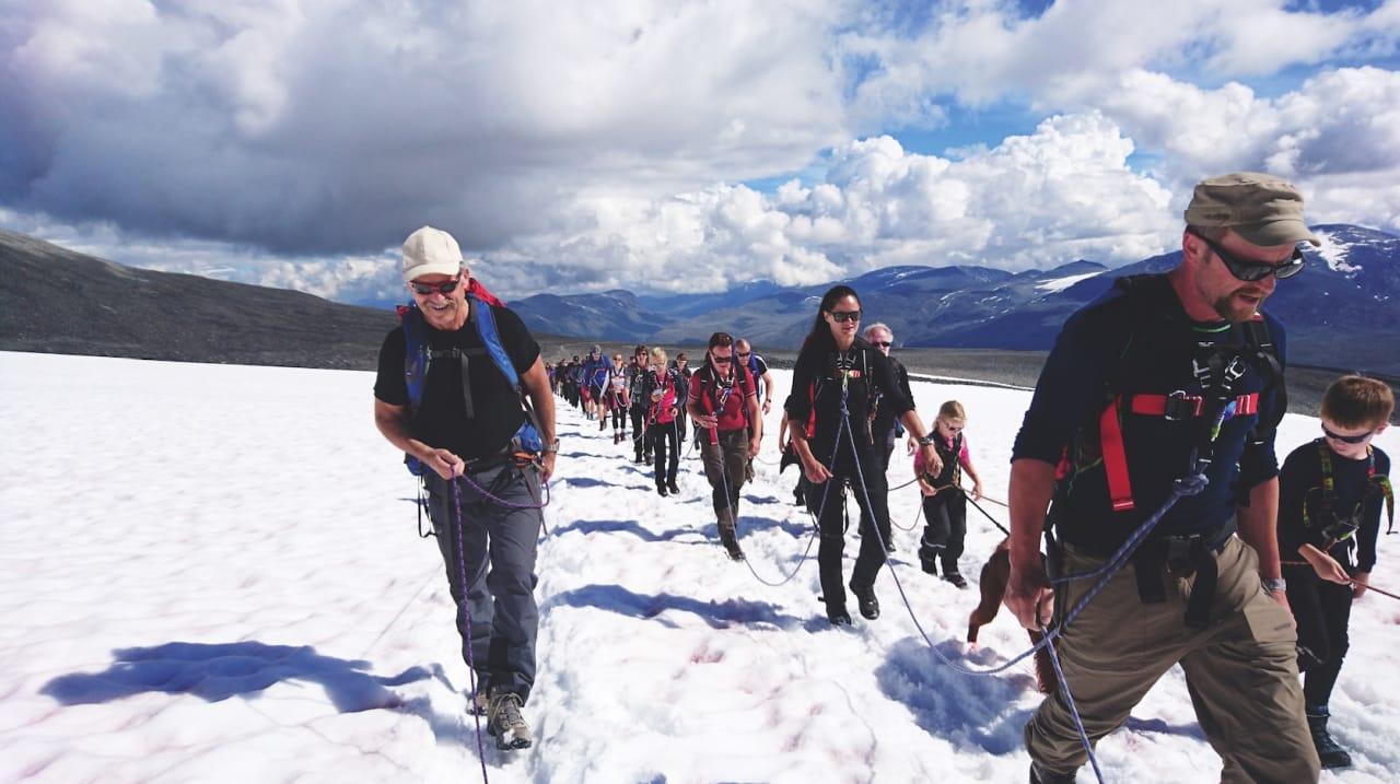 MASSEMØNSTRING: En søndag med solskinn midt i juli er det mange som vil til topps på Galdhøpiggen (2469 moh.). Rekke på rekke krysser Styggebrean innbundet i tau.