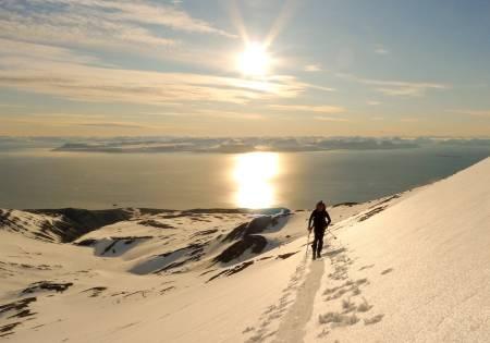 LYS NATT: Midnattssolen stråler og ekspedisjonen utnytter alle dagens timer