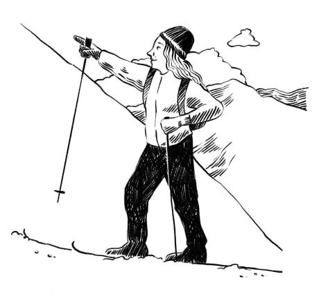 SKIEVENTYR: Birgit var så glad i å være på ski på fjellet. For å få prøve seg på prins Aksel måtte man gå på ski på tre fjell, det hadde kongen og den nye dama hans bestemt. Illustrasjon: Anne Vollaug
