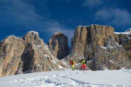 «ALDELES Steinartet»: Fargene og gløden i Dolomittene, for ikke å snakke om fjellformasjonene, gjør området til en unik tumleplass for toppturfolket. Som skitur i et maleri.