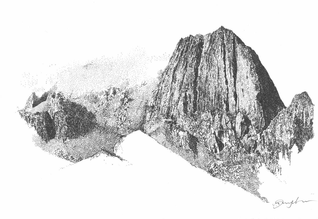 BRATTVEGEN: Ræka (607 moh.) er et karakteristisk fjell i Vesterålen, der Faarlund har førstebestigning av linjen i østveggen, som leder rett mot toppen. Illustrasjon: Danny Larsen