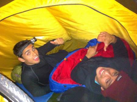 Yeison og Melvins første natt i telt. Foto: Tonje Slettemo