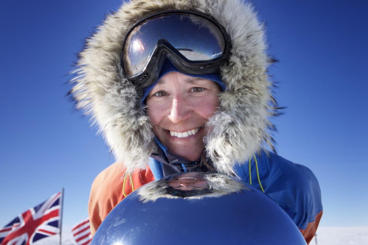 raskeste kvinne: Tur-retur Sydpolen vel og merke. Johanna Davidsson tok flere reokorder på sin ekspedisjon.  Foto: Privat