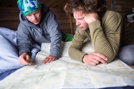 Stian Hagen og Dave Rosebarger finjusterer ruta. Foto: Christian Nerdrum