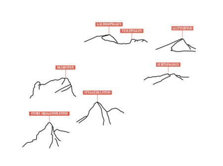 NORGES TAK: Norges syv høyeste fjell ligger i Jotunheimen. Med omliggende hytter og hvis vær og form tillater det, så er det mulig å nå alle på en og samme tur. Illustrasjon: Eva C. Brandt