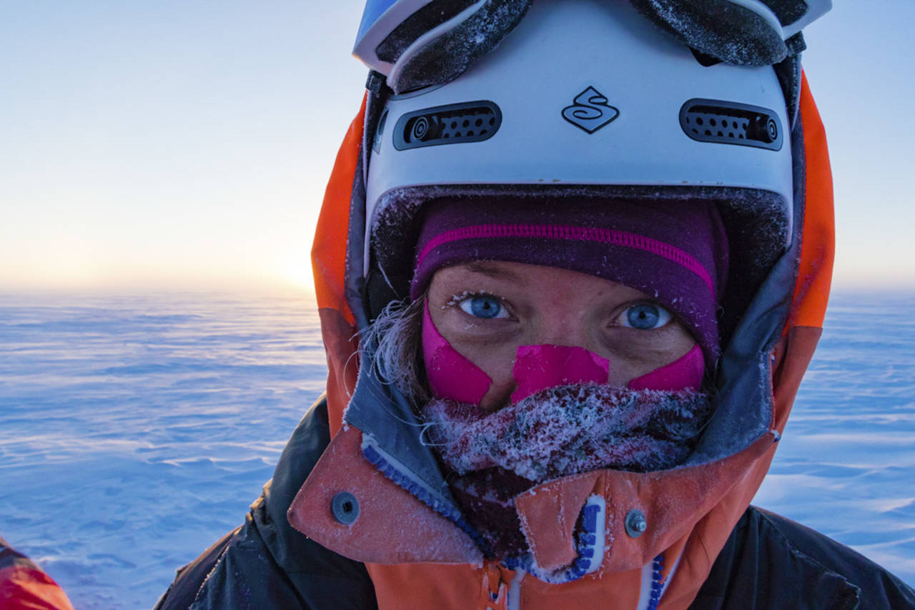 Camilla kitet på Grønland tidligere i år. Foto: Håkon Mæland