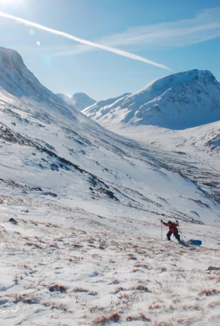LITT SLITSOMT: Nesten all snøen er borte opp bakkene fra Spiterstulen. Foto: Henning Gladheim