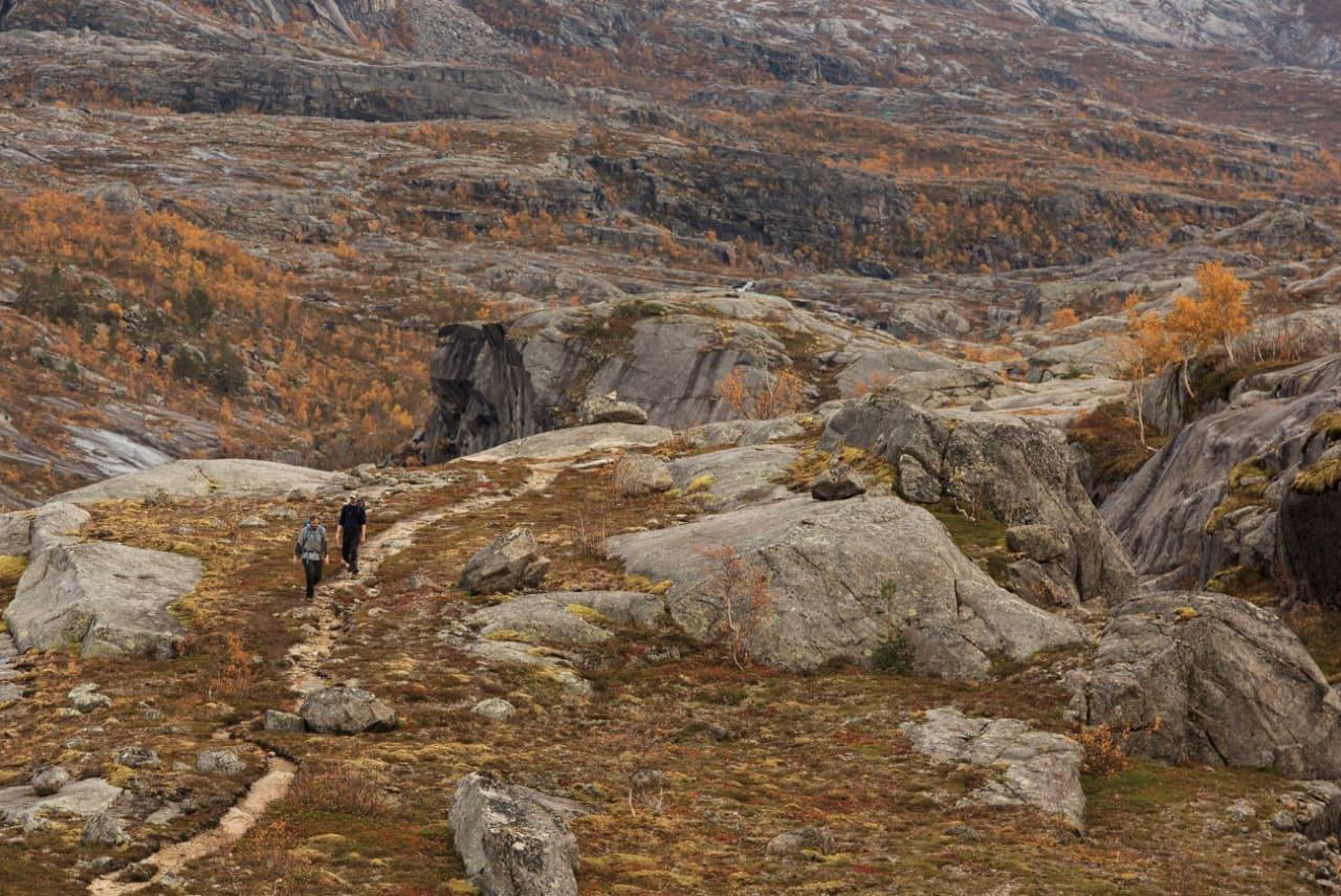 STOR OG LITEN: Rago nasjonalpark er blant landets minste, men sammen med verneområdene på svensk side utgjør den en del av et stort sammenhengende område. Her er Hans Petter (HP) Hval foran og Henning Reinton bak. Foto: Kristoffer H. Kippernes