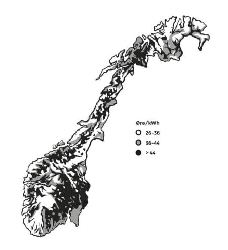 VINDKRAFT: NVEs foreløpige kart deler opp landet i «nei», «trolig nei» og «kanskje». 43 områder skal analyseres for å identifisere de mest egnede områdene for vindkraft i Norge. Vindhastighet er mest avgjørende for produksjonskostnaden i de ulike områdene. Illustrasjon: Kristian Tiller Torsvik