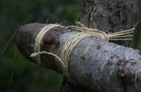 Surringene er sentrale i en gapahuk. Sisaltau er et naturprodukt og fungerer veldig bra. Surr noen gode runder over og under stokken du skal feste og stram godt til. Dobbel halvstikk er en god knute for å feste tauet.
