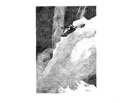 VANNKRAFT: Intim fortrolighet med naturen er et absolutt krav til den som driver brattlandskunst i elver, skriver Nils Faarlund. Illustrasjon: Kristian Tiller Torsvik