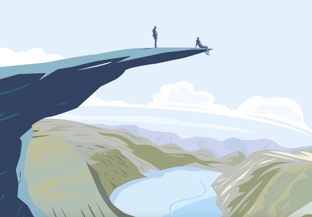 I 2016 oppdaget hele verden den fascinerende fjellformasjonen Trolltunga. Hva skjedde egentlig – og hva nå? Illustrasjon Simon Scarsbrook