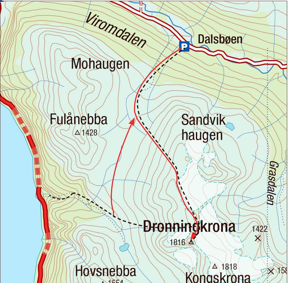 Kart for Dronningkrona i Sunndalen